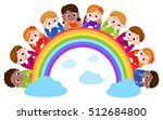 happy boys and girls lying on a ... | Shutterstock .eps vector #512684800