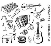 doodle set musical instruments. ... | Shutterstock .eps vector #512690260