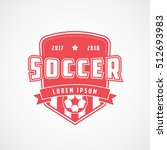 soccer emblem red flat icon on... | Shutterstock .eps vector #512693983