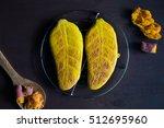 overhead view of yam bread... | Shutterstock . vector #512695960