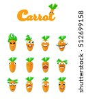 set of smiles.cartoon carrot... | Shutterstock .eps vector #512699158