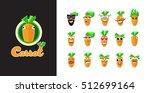 set of smiles.cartoon carrot... | Shutterstock .eps vector #512699164