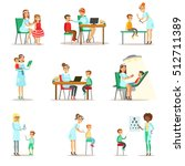 children on medical check up... | Shutterstock .eps vector #512711389