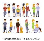 physically handicapped people... | Shutterstock .eps vector #512712910