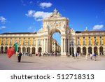 commerce square lisbon ... | Shutterstock . vector #512718313