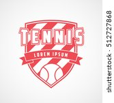 tennis emblem red flat icon on... | Shutterstock .eps vector #512727868