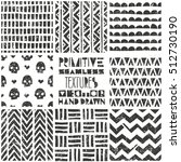 Set of 8 primitive geometric patterns. Tribal seamless background. Stylish trendy print. Modern abstract wallpaper with grunge texture. Vector illustration EPS10. | Shutterstock vector #512730190