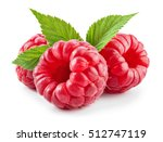 Raspberry With Leaves Isolated...