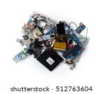 Small photo of Wreckage of electronic device. Broken, shattered thing. PCB, Li-Ion battery, speaker. Isolated on white background.