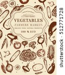 vegetables vintage poster hand... | Shutterstock .eps vector #512771728