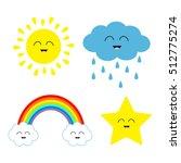 cute cartoon kawaii sun  cloud... | Shutterstock .eps vector #512775274