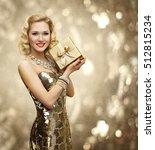 vip woman present gift box ... | Shutterstock . vector #512815234