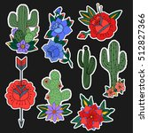 set of roses and cactus patches ... | Shutterstock .eps vector #512827366