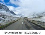 Small photo of Alpine road on bad weather in Switzerland - Albula Pass