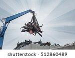 Crane With Rubbish Car Scrapyard