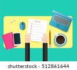 working place top view.... | Shutterstock .eps vector #512861644