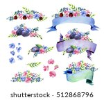 colorful floral collection with ... | Shutterstock . vector #512868796