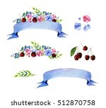 colorful floral collection with ... | Shutterstock . vector #512870758