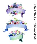 colorful floral collection with ... | Shutterstock . vector #512871250