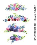 colorful floral collection with ... | Shutterstock . vector #512873254