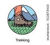 trekking icon   circle line... | Shutterstock .eps vector #512873410