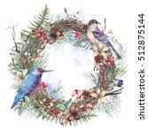 christmas vintage floral wreath ... | Shutterstock . vector #512875144
