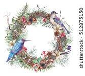 christmas vintage floral wreath ... | Shutterstock . vector #512875150