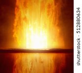 Small photo of Abstract apocalyptic background - entrance to hell, end of world, judgment day comes, burning doorway to hell