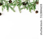 christmas composition with fir... | Shutterstock . vector #512884633