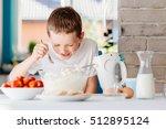 child preparing cake and... | Shutterstock . vector #512895124