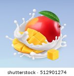 mango and milk splash. fruit... | Shutterstock .eps vector #512901274