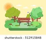 park bench. vector illustration ... | Shutterstock .eps vector #512915848