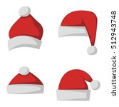 just red christmas santa hat at ... | Shutterstock .eps vector #512943748