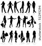 set vector silhouettes girls...   Shutterstock .eps vector #51295294