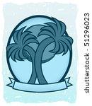 twin palm sun badge oval banner ... | Shutterstock .eps vector #51296023