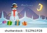 night winter landscape with... | Shutterstock .eps vector #512961928