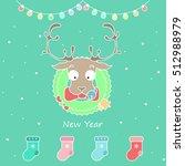 vector set of cartoon christmas ... | Shutterstock .eps vector #512988979