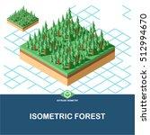 extrude isometric forest tile. | Shutterstock .eps vector #512994670