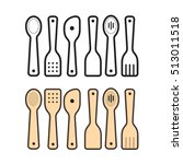 color   black outline spoon set ... | Shutterstock .eps vector #513011518