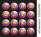 set of purple glossy round...