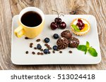 cup of coffee and pastry on...   Shutterstock . vector #513024418