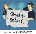 school boy and girl hold blank... | Shutterstock . vector #513043273