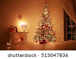 Stock photo feast of the nativity beautifully decorated house with a tree and presents at christmas 513047836