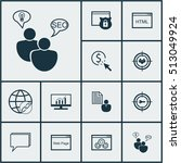 set of marketing icons on... | Shutterstock .eps vector #513049924