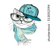 Stock vector fashion cat in a cap scarf and glasses hipster isolated on white vector illustration for a 513052594