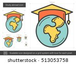 study abroad vector line icon... | Shutterstock .eps vector #513053758