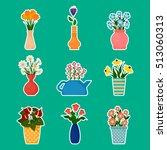 gardening stickers  houseplants ... | Shutterstock .eps vector #513060313