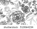 peonies  gillyflowers  roses.... | Shutterstock .eps vector #513064234