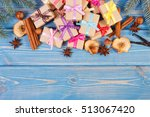 wrapped gifts with colorful... | Shutterstock . vector #513067420
