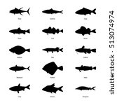 Set Of Silhouettes Of Fishes ...